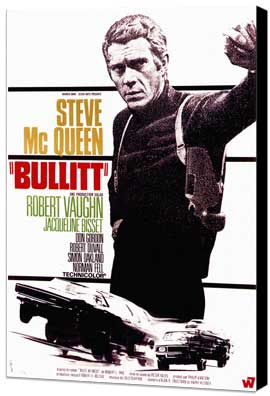 Bullitt - 11 x 17 Movie Poster - French Style B - Museum Wrapped Canvas