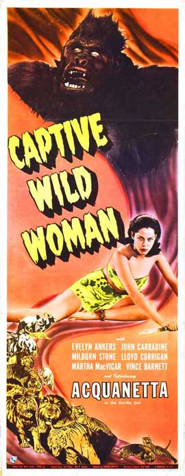 Captive Wild Woman - 14 x 36 Movie Poster - Insert Style A