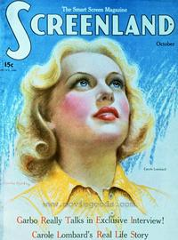 Carole Lombard - 27 x 40 Movie Poster - Screenland Magazine Cover 1920's Style A
