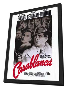 Casablanca - 11 x 17 Movie Poster - Style A - in Deluxe Wood Frame