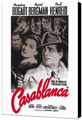 Casablanca - 27 x 40 Movie Poster - Style B - Museum Wrapped Canvas