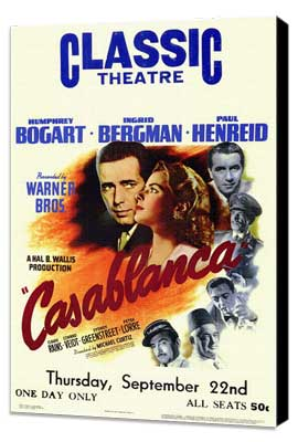 Casablanca - 27 x 40 Movie Poster - Style E - Museum Wrapped Canvas