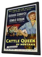 Cattle Queen of Montana - 11 x 17 Movie Poster - Style A - in Deluxe Wood Frame
