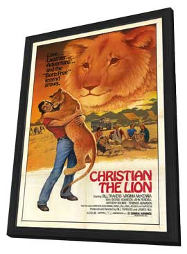 Christian the Lion - 27 x 40 Movie Poster - Style A - in Deluxe Wood Frame