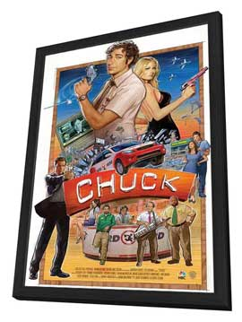 Chuck (TV) - 11 x 17 TV Poster - Style F - in Deluxe Wood Frame