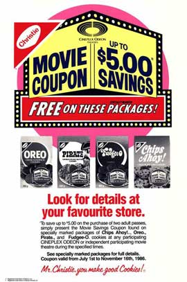 Cineplex Odeon Nabisco Coupon Savings - 27 x 40 Movie Poster - Style B