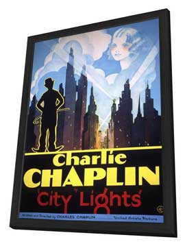 City Lights - 11 x 17 Movie Poster - Style C - in Deluxe Wood Frame