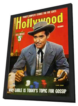 Clark Gable - 11 x 17 Hollywood Magazine Cover 1930's Style A - in Deluxe Wood Frame