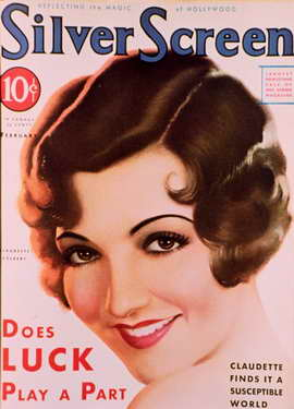 Claudette Colbert - 11 x 17 Silver Screen Magazine Cover 1930's Style A
