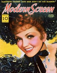 Claudette Colbert - 11 x 17 Modern Screen Magazine Cover 1930's Style B