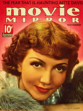 Claudette Colbert - 11 x 17 Movie Mirror Magazine Cover 1930's Style A