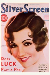 Claudette Colbert - 27 x 40 Movie Poster - Silver Screen Magazine Cover 1930's Style A