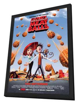 Cloudy with a Chance of Meatballs - 27 x 40 Movie Poster - Style B - in Deluxe Wood Frame