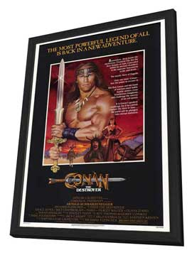 Conan the Destroyer - 27 x 40 Movie Poster - Style A - in Deluxe Wood Frame