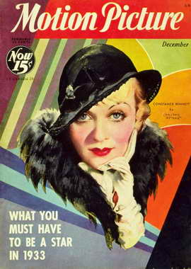 Constance Bennett - 11 x 17 Motion Picture Magazine Cover 1930's Style A