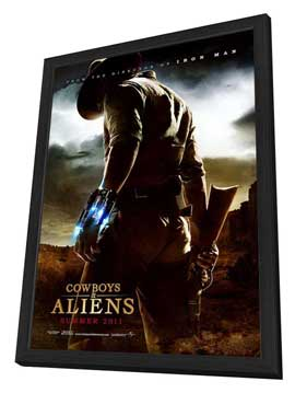 Cowboys and Aliens - 27 x 40 Movie Poster - Style A - in Deluxe Wood Frame