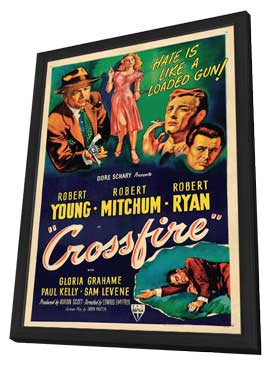 Crossfire - 11 x 17 Movie Poster - Style B - in Deluxe Wood Frame
