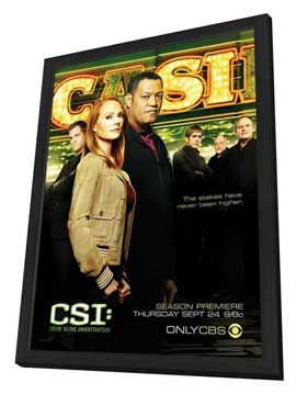 CSI: Crime Scene Investigation - 11 x 17 TV Poster - Style L - in Deluxe Wood Frame