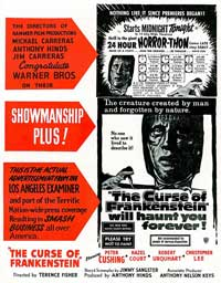 The Curse of Frankenstein - 11 x 17 Movie Poster - Style C