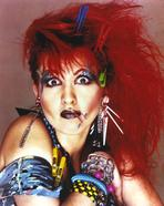 Cyndi Lauper - Cyndi Lauper Portrait in Red Hair and Blue Eye Lashes
