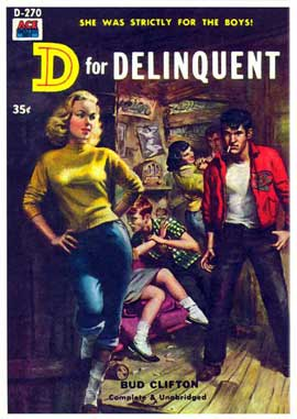 D for Delinquent - 11 x 17 Retro Book Cover Poster