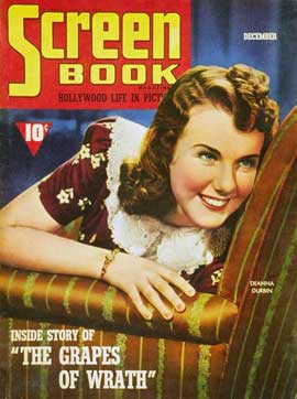 Deanna Durbin - 11 x 17 Screen Book Magazine Cover 1940's
