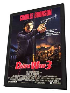 Death Wish 3 - 11 x 17 Movie Poster - Style A - in Deluxe Wood Frame