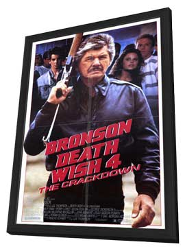 Death Wish 4: The Crackdown - 11 x 17 Movie Poster - Style A - in Deluxe Wood Frame
