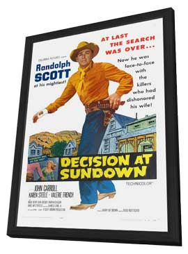 Decision At Sundown - 11 x 17 Movie Poster - Style A - in Deluxe Wood Frame