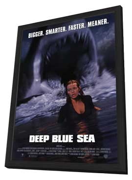 Deep Blue Sea - 11 x 17 Movie Poster - Style A - in Deluxe Wood Frame