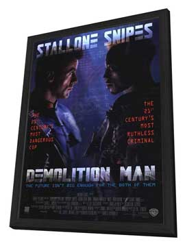 Demolition Man - 27 x 40 Movie Poster - Style A - in Deluxe Wood Frame