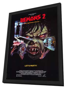 Demons 2: The Nightmare Returns - 11 x 17 Movie Poster - Style A - in Deluxe Wood Frame