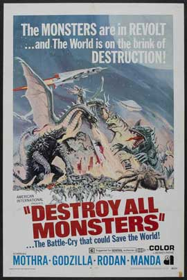 Destroy All Monsters - 27 x 40 Movie Poster - Style B