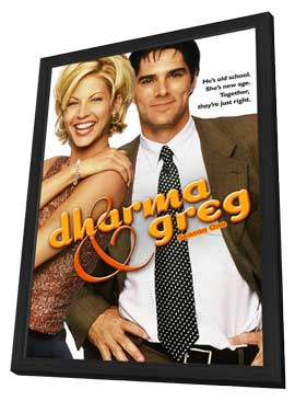 Dharma & Greg - 11 x 17 TV Poster - Style B - in Deluxe Wood Frame