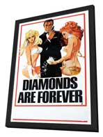 Diamonds Are Forever - 27 x 40 Movie Poster - Style C - in Deluxe Wood Frame