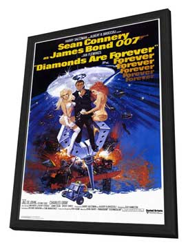Diamonds Are Forever - 27 x 40 Movie Poster - Style A - in Deluxe Wood Frame
