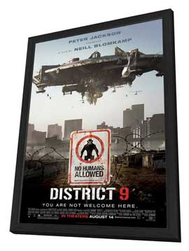 District 9 - 27 x 40 Movie Poster - Style B - in Deluxe Wood Frame
