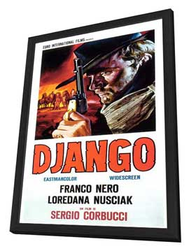Django - 11 x 17 Movie Poster - Italian Style A - in Deluxe Wood Frame