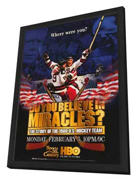 Do You Believe in Miracles? The Story of the 1980 U.S. Hockey Team - 11 x 17 Movie Poster - Style A - in Deluxe Wood Frame