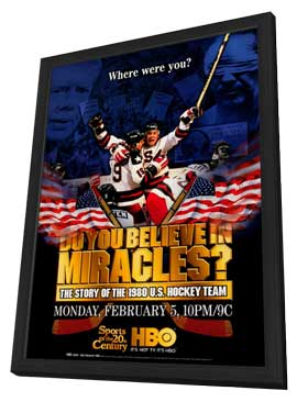 Do You Believe in Miracles? The Story of the 1980 U.S. Hockey Team - 27 x 40 Movie Poster - Style A - in Deluxe Wood Frame