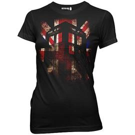 Doctor Who - TARDIS and Union Jack Black Juniors T-Shirt