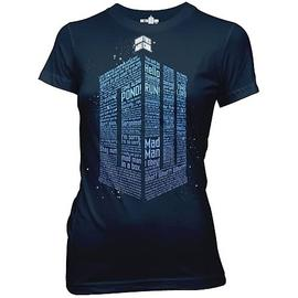 Doctor Who - Logo of Words Navy Blue Juniors T-Shirt