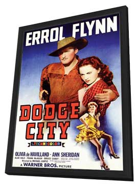 Dodge City - 11 x 17 Movie Poster - Style A - in Deluxe Wood Frame