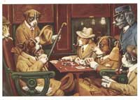 Dogs Playing Poker - 11 x 17 Poster - His Station and Four Aces