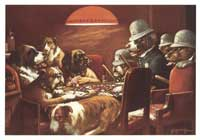 Dogs Playing Poker - 11 x 17 Poster - Pinched With Four Aces