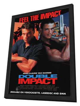 Double Impact - 27 x 40 Movie Poster - Style B - in Deluxe Wood Frame