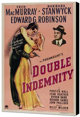 Double Indemnity - 27 x 40 Movie Poster - Style A - Museum Wrapped Canvas