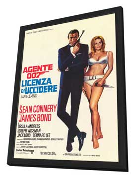 Dr. No - 27 x 40 Movie Poster - Italian Style A - in Deluxe Wood Frame