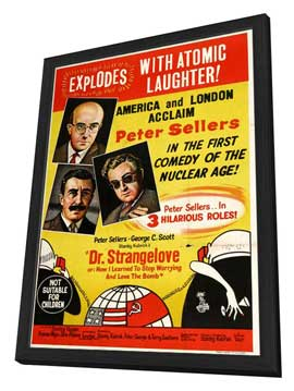 Dr. Strangelove, or: How I Learned to Stop Worrying and Love the Bomb - 27 x 40 Movie Poster - Australian Style B - in Deluxe Wood Frame