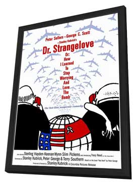 Dr. Strangelove or: How I Learned to Stop Worrying and Love the Bomb - 27 x 40 Movie Poster - Style E - in Deluxe Wood Frame